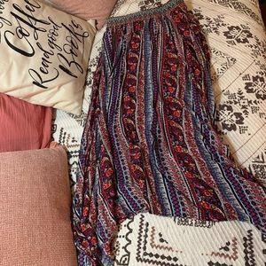 Long, flowy, boho skirt.